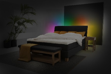 philips hilding anders color ambiance bed verlichting regenboogjpg